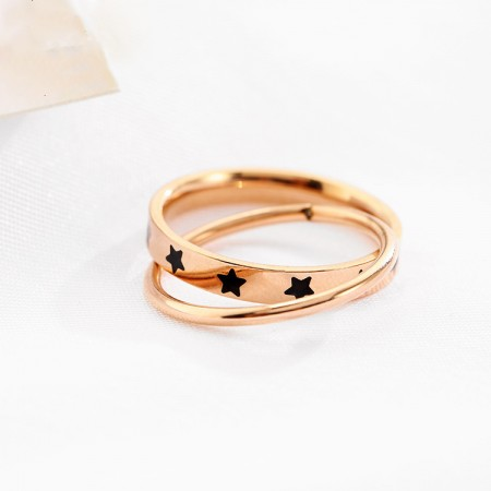 Pentagram Rose Gold Rimmed Titanium Steel Birthday Gift Lady's Two Piece Rings