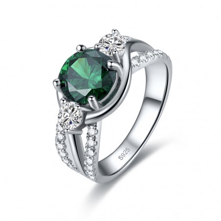 Green Cubic Zirconia s925 Sterling Silver Lady's Engagement/Wedding Ring