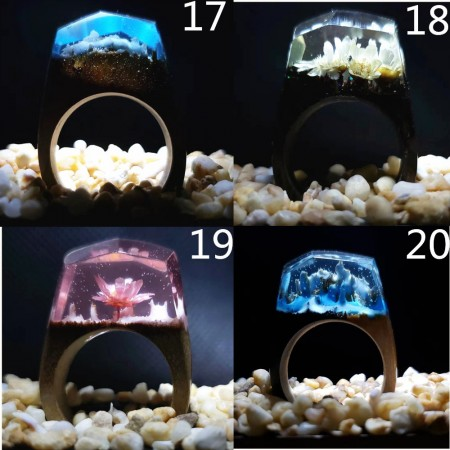 20 Colors Secret Wood Resin Rings