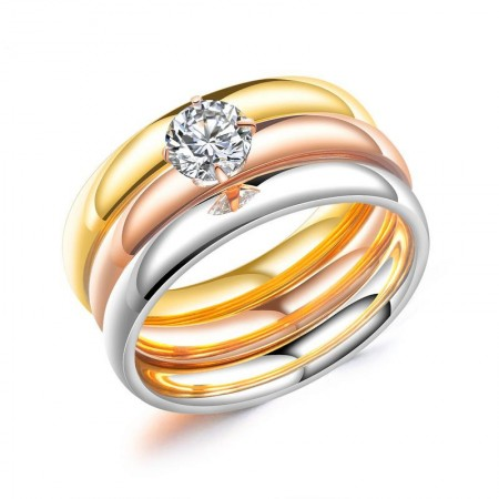 Three Color Stainless Steel CZ Set Promise Ring