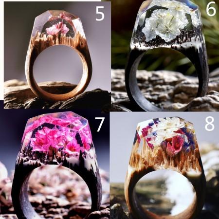 20 Colors Secret Wood Resin Rings