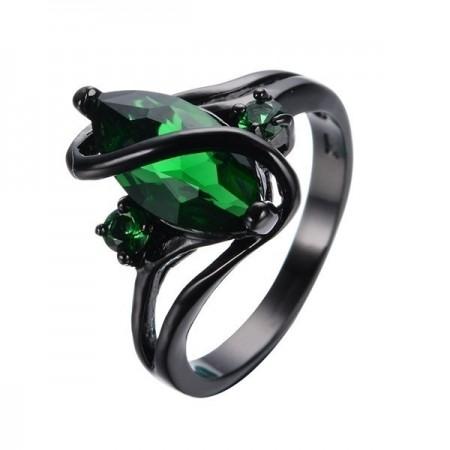 Stylish Black Gold Inlaid Emeralds Gem Engagement Ring
