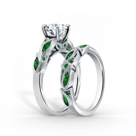 Natural Round Cut Created White Sapphire with Emerald Sidestone Sterling Silver Engagement Ring/Bridal Set