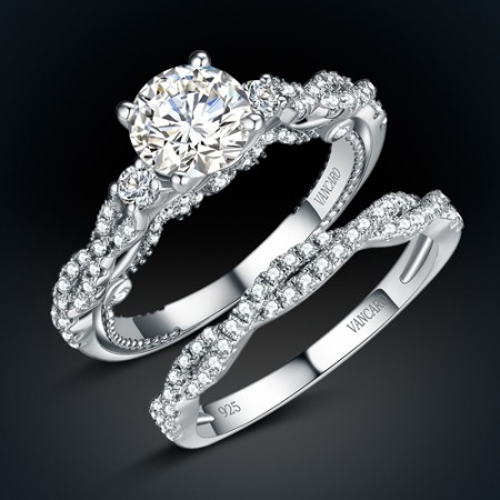 Twist Style Round Cut White Cubic Zirconia 925 Sterling Silver Women's Ring/Engagement Ring