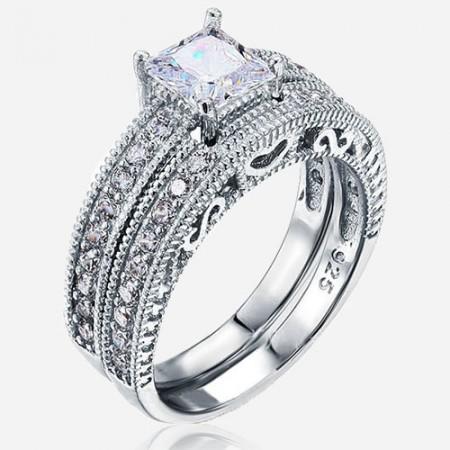 Romantic Heart Princess Cut Cubic Zircon 925 Sterling Engagement Ring Set