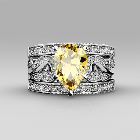 Yellow Cubic Zirconia with Pear Cut 925 Sterling Silver Women's Wedding Ring Set