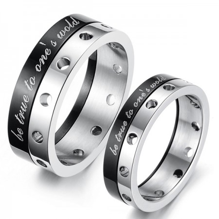 Fashionable 316L Titanium Stainless Steel Rotatable Couple Rings (Price For a Pair)