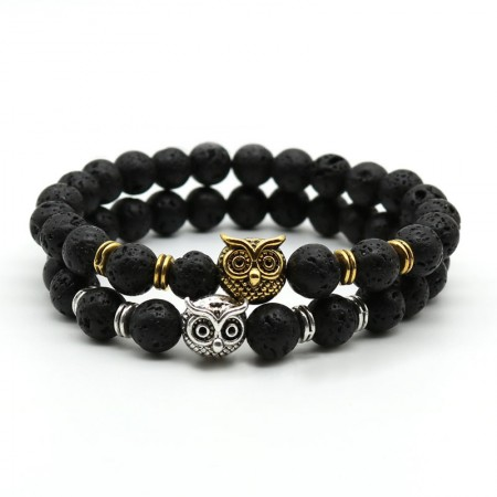 Black Lava With Sliver/Gold Owl Bracelet