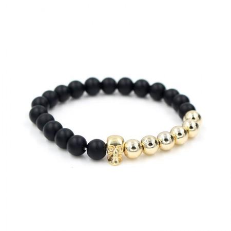 Matte Black & Silver/Gold plated Skull Bracelet