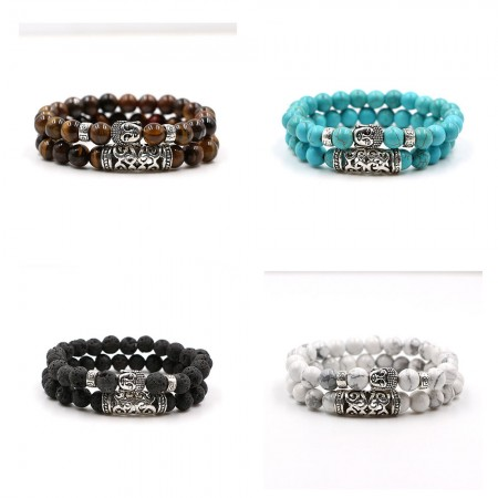 Brown/Blue/Black/White Beads With Silver Buddha Bracelet