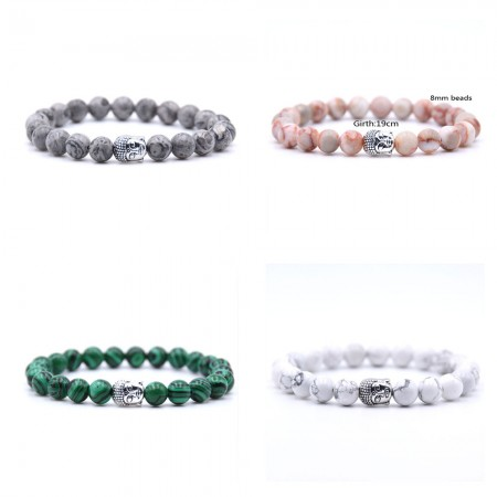 Classic Marble Stone With Silver Buddha Bracelet