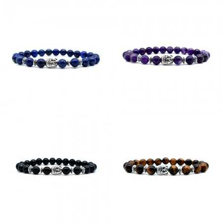 8mm Beads With Silver Buddha Bracelet