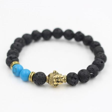 Black Lava & Blue veins with Bronze Buddha Bracelet