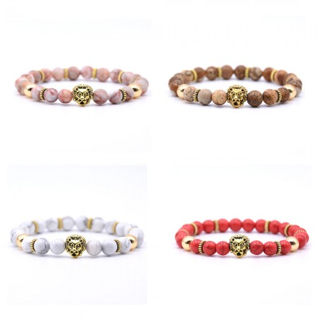 Natural Beads With Gold Lion Bracelet