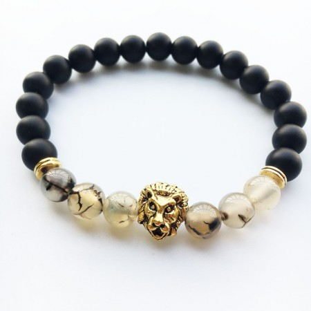 Black Matte With Gold Lion Bracelet