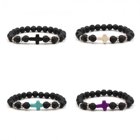 Fashion Black Lava Cross Bracelet