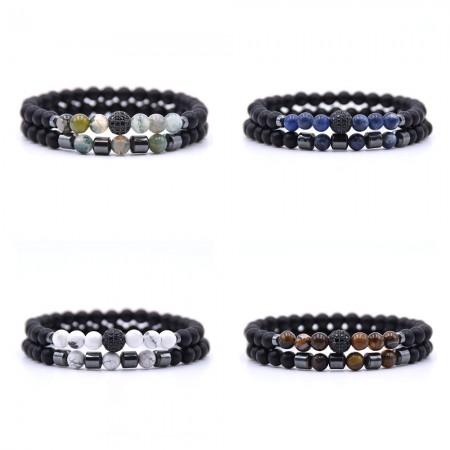 6mm Black Matte Natural Beads Couple Bracelet