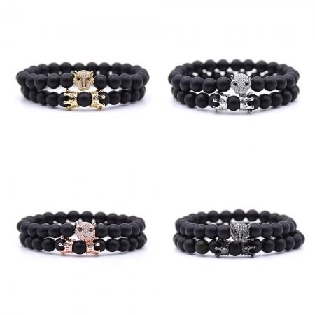 Men's 8mm Natural Gemstone Beads Couple Bracelet