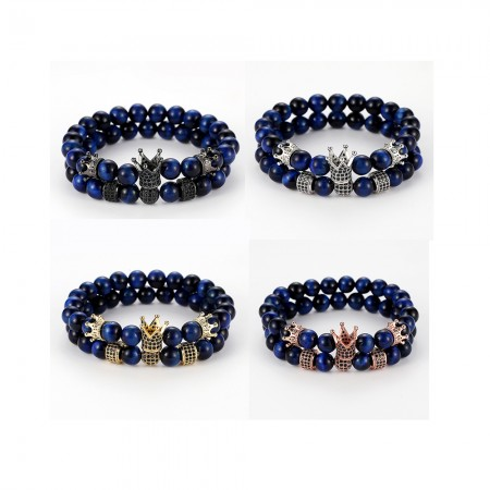 Blue Tiger's Eye Cross-Shaped Elastic Bracelets