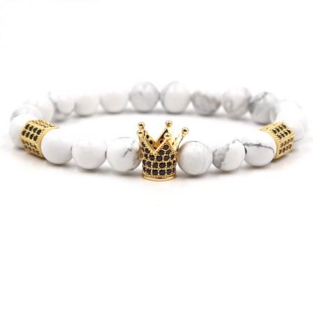 White Turquoise Crown-Shaped Elastic Bracelet