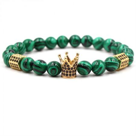 Malachite Crown-Shaped Elastic Bracelet