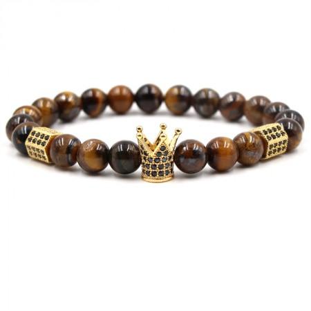 Tiger's Eye Crown-Shaped Elastic Bracelet