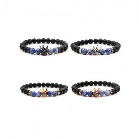 Zircon Inlaid Frosted Stone Crown-Shaped Elastic Bracelet