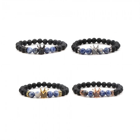 Zircon Inlaid Volcanic Rocks Crown-Shaped Elastic Bracelet