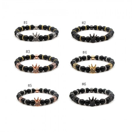 Natural Frosted Stone Crown-Shaped Multicolor Elastic Bracelet