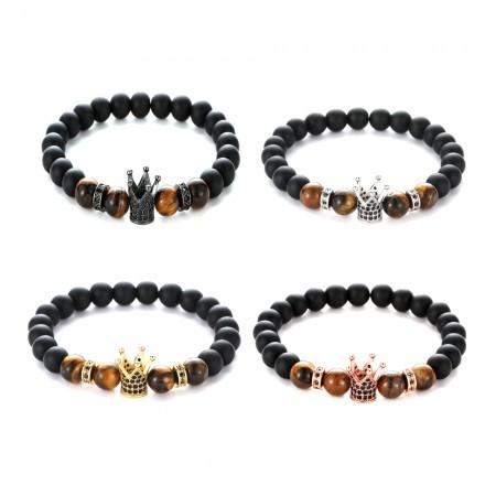 Black Matte Frosted Stone Zircon Crown-Shaped Elastic Bracelet