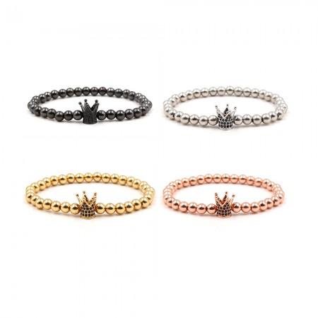 Black Zircon Cross-Shaped Elastic Bracelet