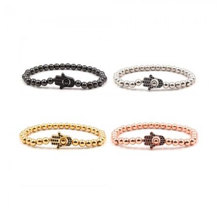 Black Zircon Palm-Shaped Elastic Bracelet