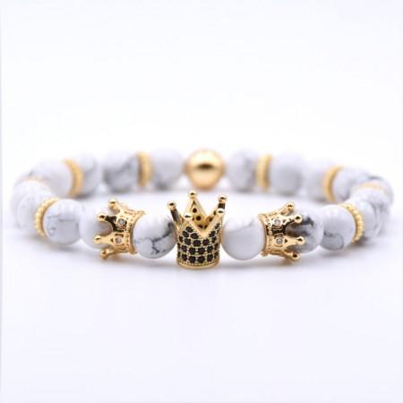 Three Crown Design  White Turquoise Zircon Elastic Bracelet