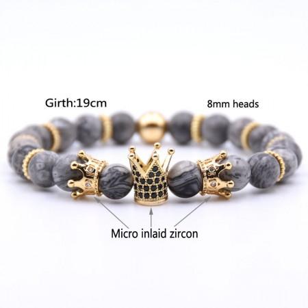 Three Crown Design  Map-Shaped RiverStones Zircon Elastic Bracelet