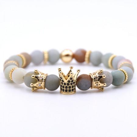 Three Crown Design Amazon Frosted Stone Elastic Bracelet