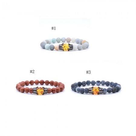 Amazon Frosted Stone Weathered Stone Crown-Shaped Elastic Bracelet
