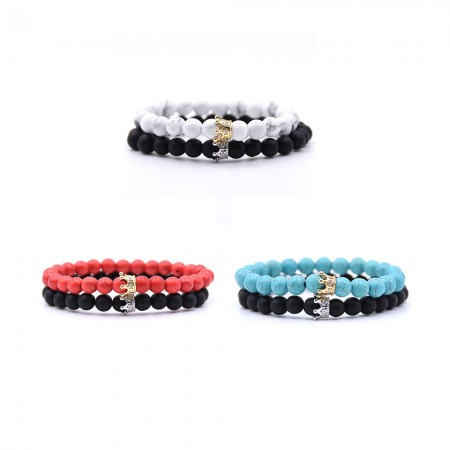 Turquoise Crown-Shaped Elastic Two Bracelets