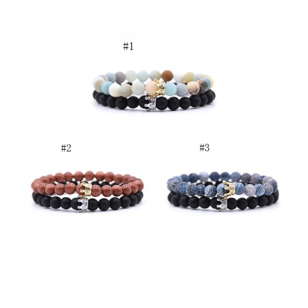 Amazon Frosted Stone Weathered Stone Crown-Shaped Elastic Two Bracelets