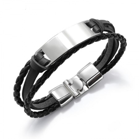 Engravable Simple Charm Belt Bracelet For Men In Leather And Alloy