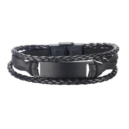 Engravable Simple Black Three Strand Leather Bracelet For Men