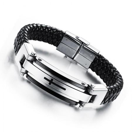 Engravable Cross Charm Belt Bracelet For Men In Leather And Titanium