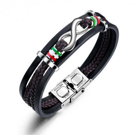 Personalized Infinity Charm Three Strand Leather Belt Bracelet For Men