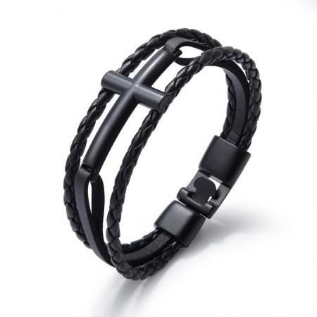 Unique Cross Charm Three Strand Leather Belt Bracelet For Men
