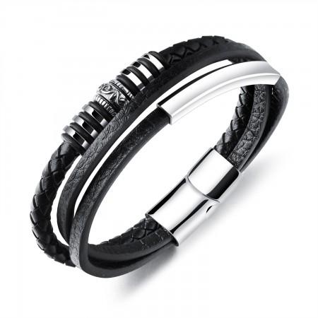 Simple Engravable Three Strand Leather Belt Bracelet For Men