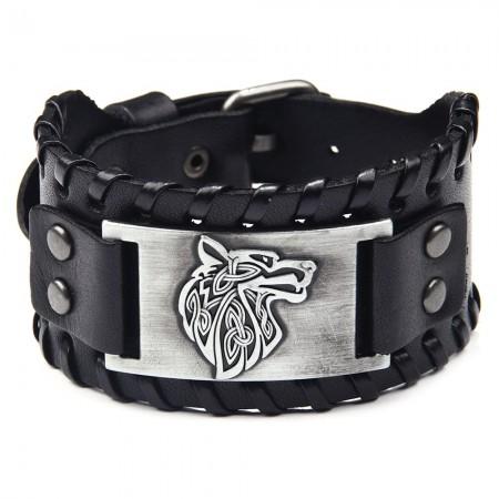 Unique Wolf Totem Charm Cowhide Belt Bracelet For Men