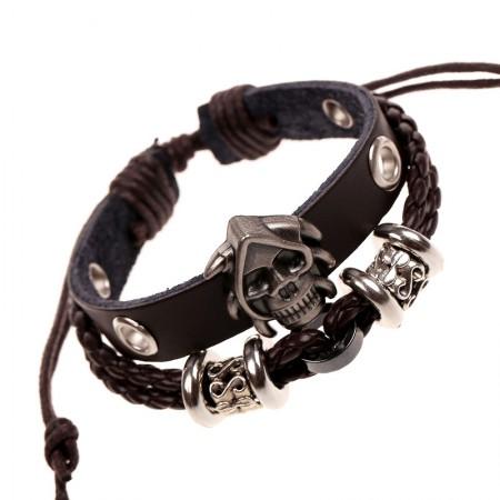 Adjustable Skull Charm Cowhide Belt Bracelet For Men