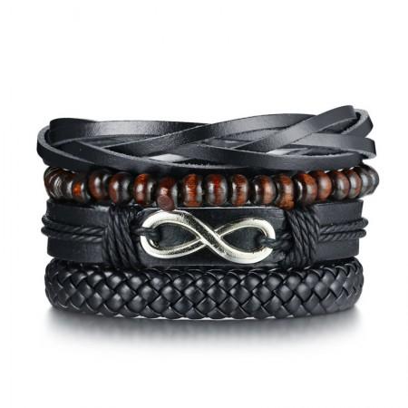 Unique Infinity 4 Strand Leather Belt Bracelet For Men