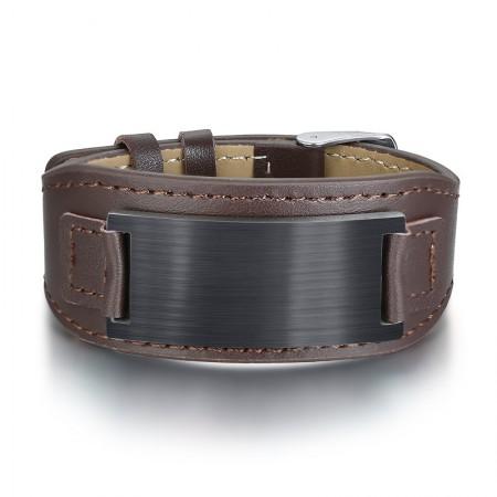 Engravable Simple Leather Belt Bracelet For Men