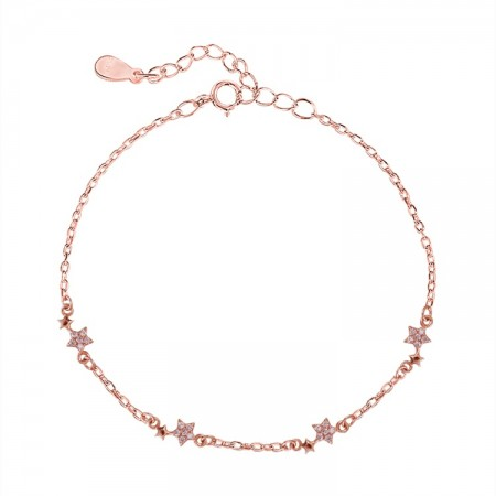 Cute Stars Charm Bracelet For Womens In Sterling Silver