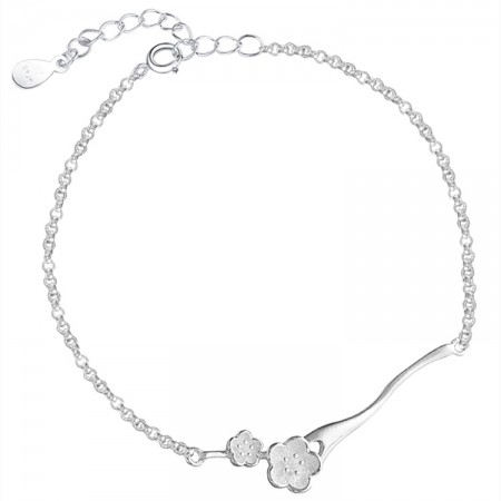 Cute Cherry Blossoms Charm Bracelet For Womens In Sterling Silver